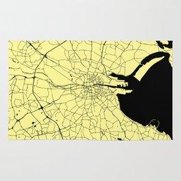 Yellow on Black Dublin Street Map Rug