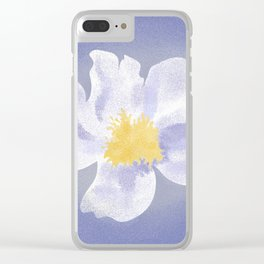 Peony on Blue Clear iPhone Case