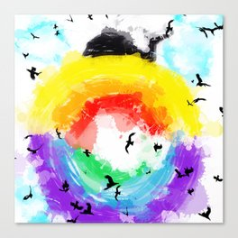 rainbow earth wild geese Canvas Print