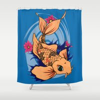 koi fish Shower Curtains featuring koi fish by Pinkspoisons