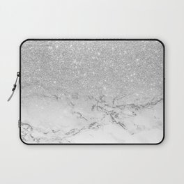Modern faux grey silver glitter ombre white marble Laptop Sleeve