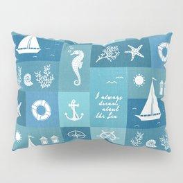 Vintage nautical items & sea creatures blue board Pillow Sham