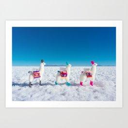 Llamas on the Bolivia Salt Flats Art Print