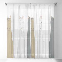 Triple Horses Line Art Sheer Curtain
