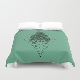 Geometric Crow in a diamond (tattoo style - black and white version) Duvet Cover