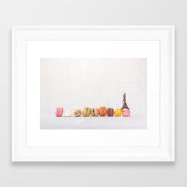 Paris, macarons and the eiffel tower Framed Art Print