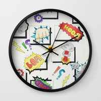 comic book Wall Clocks featuring Comic Book by michaelrosen