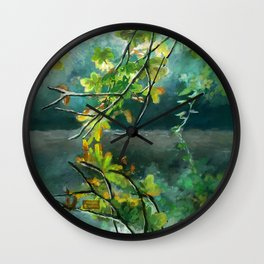 Leaves in the Water Wall Clock