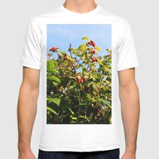 Raspberries reaching for the sky White MEDIUM Mens Fitted Tee