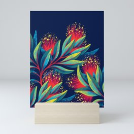 Pohutukawa - Red / Green Mini Art Print