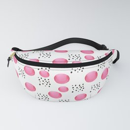 Modern pink watercolor dots black brushstrokes pattern Fanny Pack