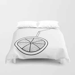orange cocktail with a straw . cocktail . art Duvet Cover