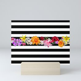 flowers on black and white stripes Mini Art Print