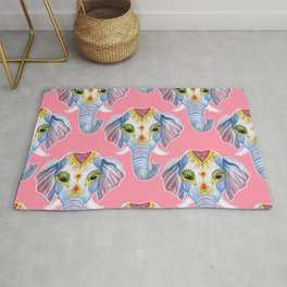 Cute Decorated Watercolor Elephant Pattern Rug