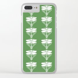 Glade Green Arts and Crafts Dragonflies Clear iPhone Case