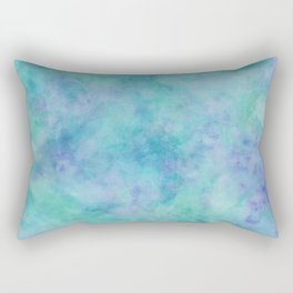 Teal and Blue Tropical Marble Watercolor Texture Rectangular Pillow