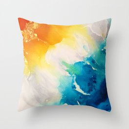 Coastal Bright Summer Beach Abstract Throw Pillow