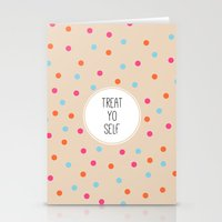 treat yo self Stationery Cards featuring Treat Yo Self II by Galaxy Eyes