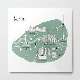 Mapping Berlin - Green Metal Print