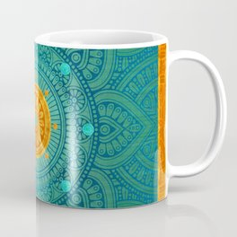 """Turquoise and Gold Mandala"" Coffee Mug"