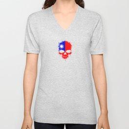 Flag of Taiwan on a Chaotic Splatter Skull Unisex V-Neck