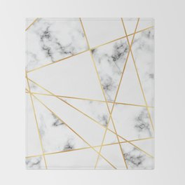 Stone Effects White and Gray Marble with Gold Accents Throw Blanket