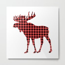 Red Flannel Moose Metal Print