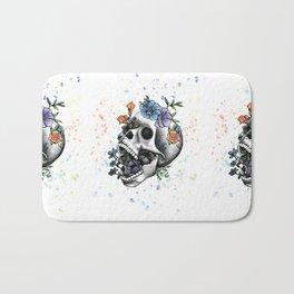 Flower Skull by Andrea Cain Bath Mat