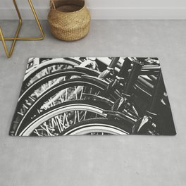 Bicycles, Bikes in Black and White Photography Rug