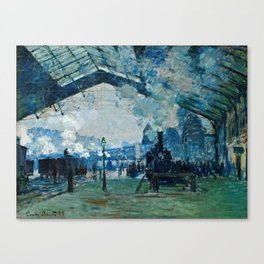 Claude Monet - Arrival Of The Normandy Train, Gare Saint Lazare Canvas Print