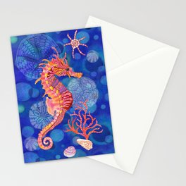 Seahorse in the Deep Blue Stationery Cards