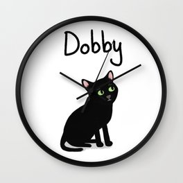 "Custom Cat Art ""Dobby"" Wall Clock"