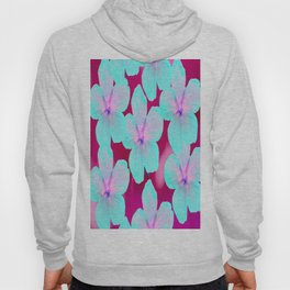 Turquoise Retro Flowers On Pink Background #decor #society6 Hoody