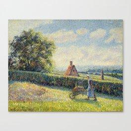 "Camille Pissarro ""Femme poussant une brouette, Eragny""(""Woman pushing a wheelbarrow, Eragny"") Canvas Print"