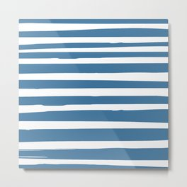 Stripes Nautical Landscape Modern Beach Blue Metal Print