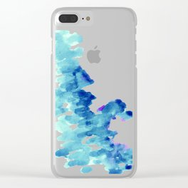 Blue, turquoise water cloud. Colorful watercolor painting Clear iPhone Case