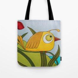 Yellow Wren Quail Tote Bag