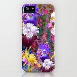 Decorative Spring Grey Iris Yellow & Pink Garden iPhone Case