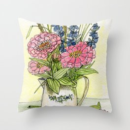 Pink Zinnias in Pitcher Watercolor Throw Pillow