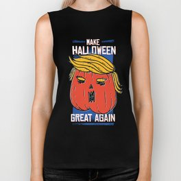 Trumpkin Make Halloween Great Again Funny Biker Tank
