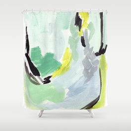 Twirl Green: Abstract Painting Shower Curtain