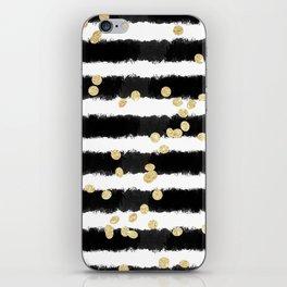 Modern black watercolor stripes chic gold confetti iPhone Skin