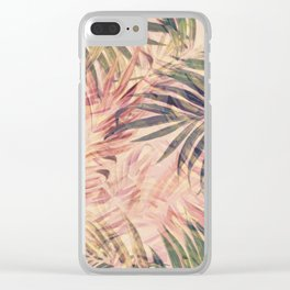 Palm Leaves in pink Clear iPhone Case