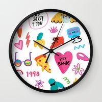 90s Wall Clocks featuring 90s by melissa chaib