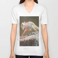 chameleon V-neck T-shirts featuring Chameleon  by Four Hands Art