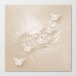 Fabulous butterflies and wattle with textured chevron pattern in subtle iced coffee Canvas Print