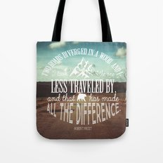 The Road Not Taken book quote Tote Bag