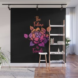 The future is female lettering on the dark background Wall Mural