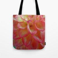 dahlia Tote Bags featuring Dahlia  by Lena Photo Art