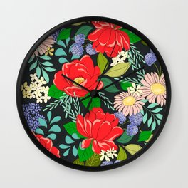 Happiness and Joy Vibrant Colorful Floral Pattern Wall Clock